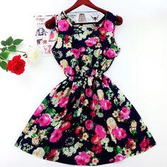 MOON BUNNY 2016 Plus Size Women's Clothing Lace Chiffon printed dress Casual vestidos Women Dress summer fashion Dresses WC0375- #knee_support, #Dresses