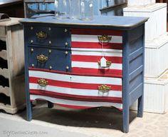Patriotic furniture in Ashville, NC - well done! Painted Chairs, Hand Painted Furniture, Paint Furniture, Repurposed Furniture, Furniture Projects, Rustic Furniture, Furniture Making, Furniture Makeover, Furniture Decor