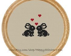 Cross Stitch Pattern PDF love cats moon by HappyStitches4You