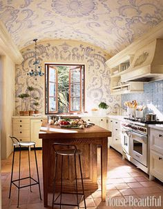 transform a kitchen into a vintage late 1800's feel with this fabulous ceiling idea