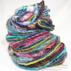 Medley Corespun Handspun Yarn Wool/Llama/Mohair/Firestar/Silk/Metallic blend 5.1 oz 50 yds