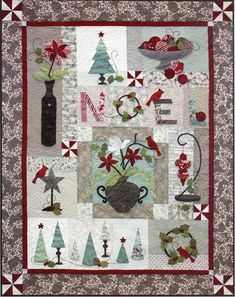 """Holiday Chic block of the month quilt, 46 x 58"""",  design by Colette Belt of QP Designs"""
