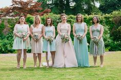 Mismatched Pastel Bridesmaid Dresses Quirky Stylish Home Made Woodland Wedding http://bloomweddings.co.uk/