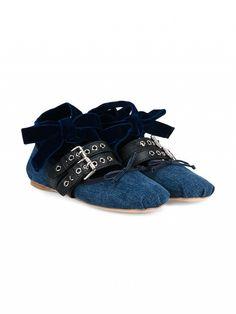 Miu Miu lace-up ballet slippers.