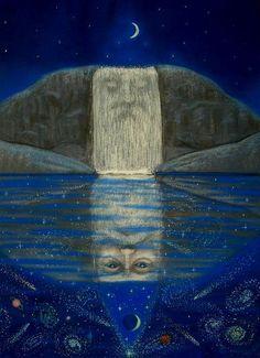 Spiritual art surreal waterfall magic Merlin by HalstenbergStudio, $2.95