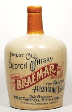 WB87, 190mm tall, 2 tone stoneware Whisky Jug, Finest Old Scotch Whisky Braemar The Famous Highland Blend, Port Dundas maker,… / MAD on Collections - Browse and find over 10,000 categories of collectables from around the world - antiques, stamps, coins, memorabilia, art, bottles, jewellery, furniture, medals, toys and more at madoncollections.com. Free to view - Free to Register - Visit today. #Whisky #Collectables #MADonCollections #MADonC