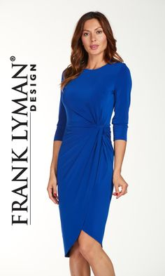 Frank Lyman Dress 176042 Cobalt Blue Long sleeves to cover your arms. Clever ruching to disguise your tummy. Elegant hemline and longer length. Fabulous colour. This Frank Lyman dress just has so much going for it! The style is very flattering and this dress is easy care and easy wear. Packs like a dream and won't crease. A great day dress that can take you from work to networking to out for dinner effortlessly and stylishly…