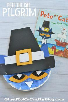 Paper Plate Pete The Cat Pilgrim - Kid Craft Idea For Thanksgiving