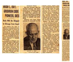 """Hugh Ray passed away in Los Angeles,on September 16,1956. The following is taken from his September 17, 1956 obituary in The Chicago Tribune: """"HUGH L. RAY, GRIDIRON CODE PIONEER, DIES. . . Hugh L. Ray . . . rewrote pro code  Institutes Clinics - Ray later became a Big Ten football official. His officiating led to a detailed clinical investigation of football out of which Ray gathered the data to bring about a complete change in the approach to the game of football and officiating."""