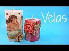 I think its in spanish but its easy to work out how to decorate this candle. Decoupage, Candle Craft, Pillar Candles, Carved Candles, Christmas Deco, Paper Napkins, Diy Tutorial, Creative Art, Stencils