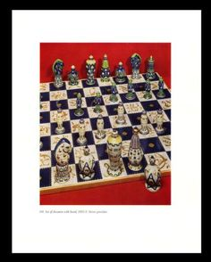French Chessmen Chess Board Print Book Plate Sevres Porcelain France