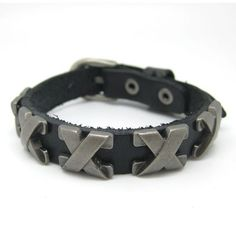 punk Cuff Bracelet Made Of Black soft leather Woven by sevenvsxiao, $8.50