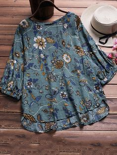 Fashion Women Blouses Casual Print Long Sleeve Round Neck Loose Top Shirt Blouse Plus Size Female Blusas Ladies Blouses Hot Sale Casual T Shirts, Casual Outfits, Fashion Outfits, Womens Fashion, Curvy Fashion, Plus Size Blouses, Plus Size Tops, Blusas Top, Loose Tops