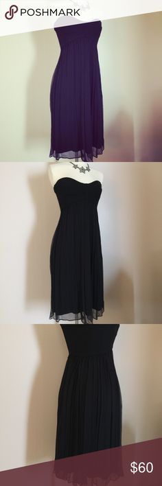 Diane Von Furstenberg LBD Black Strapless Dress 4 DVF little black cocktail dress. Dress was worn and drycleaned once, and is in MINT condition. No stains, wear, or rips. Has a spandex strapless bustier top, and a sheer overlay bottom. Very beautiful on. Classic look, and great for a guest of a wedding. Tagged a size 4. Diane von Furstenberg Dresses Mini