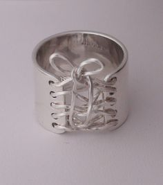 Corset Ring Sterling Silver Wide Band w Sterling by AuraleeCompany