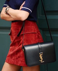 A Suede Skirt and a YSL purse