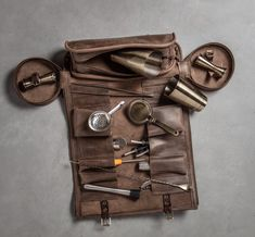 Excited to share this item from my shop: Bartender Roll Brown Barman bag by Kruk Garage Portable bar kit Travel roll Cocktail tools bag FREE PERSONALIZATION Gifts for bartender Garage Portable, Bar Portable, Tool Roll, Cowhide Leather, Leather Art, Bar Tools, Leather Working, Crate And Barrel, Cocktails