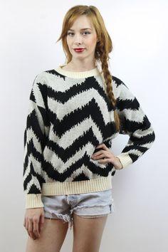 Vintage 80s Cream + Black Metallic Sweater, fits S/M www.shopEBV.com