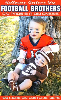 Football Brothers Halloween Costume {with DIY football pads and a DIY football onesie} + 88 More Handmade Costume Ideas!