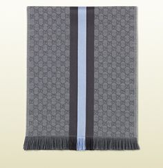 GG jacquard knit scarf with web and fringe