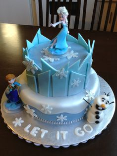 Frozen themed cake that is super duper easy to make. These 10 Amazing disney's frozen cakes will excite your little princess! Torte Frozen, Frozen Castle Cake, Bolo Frozen, Disney Frozen Cake, Elsa Birthday Cake, Frozen Themed Birthday Cake, Frozen Theme Cake, Themed Cakes, 4th Birthday