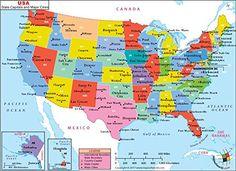USA Latitude And Longitude Map Free Printable ESL Tutoring Tools - Map of usa capitals