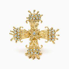 Tiffany & Co. Schlumberger® Maltese Cross clip of diamonds in 18k gold.