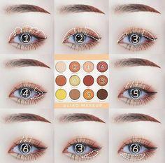 Korean Makeup Tips, Asian Eye Makeup, Eye Makeup Steps, Eye Makeup Art, Eyeshadow Makeup, Makeup Inspo, Makeup Cosmetics, Kawaii Makeup, Cute Makeup