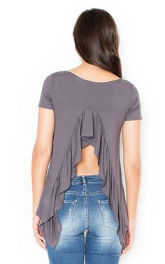 Grey Frill back Blouse - SilkFred