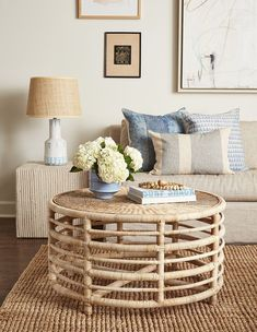 "Our Montauk Natural Coffee Table features alternating small and large ""striped"" rattan poles. This round rattan coffee table is smart, classic and nautical. Rattan Coffee Table, Coffee Table Styling, Round Coffee Table, Decorating Coffee Tables, Rattan Furniture, Living Room Furniture, Living Room Decor, Furniture Design, Glass Furniture"
