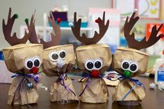 Making Reindeer out of a paper bag! Fun for fine motor development, color identification, and creativity.