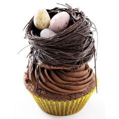 Chocolate cupcakes decorated with a chocolate nest | I love chocolate, I love Thermomix | Easter Recipes