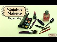 Miniature Makeup; Eyeshadow, lipstick, and mascare - Polymer clay tutorial - YouTube