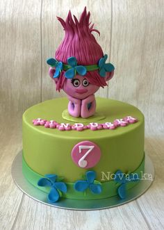 Poppy from the Trolls - Cake by Novanka My Little Pony Birthday Party, Trolls Birthday Party, Troll Party, Birthday Cake Girls, 7th Birthday, Birthday Cakes, Happy Birthday, Cake Topper Tutorial, Cake Toppers