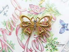 Vintage Monet Butterfly Brooch/Gold Tone by PegsVintageShop