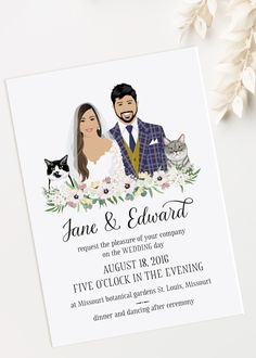 Wedding invitation with custom portraits. Wedding invitation with custom portraits. Eucalyptus greenery and flowers. Draw me please. Unique Wedding Stationery, Spring Wedding Invitations, Minimalist Wedding Invitations, Unique Invitations, Printable Wedding Invitations, Wedding Invitation Design, Invitation Suite, Invitation Wording, Digital Invitations