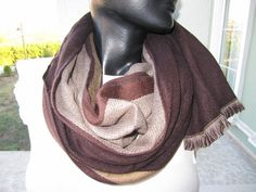 Chocolate Brown beige soft pashmina long scarf Man by BellaTurka, $17.00