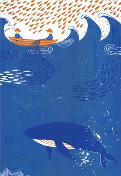 Cute art print of a whale and fishermen.    La Cung Ca Ong is an ancient whale worshipping religion practised for centuries in the coastal