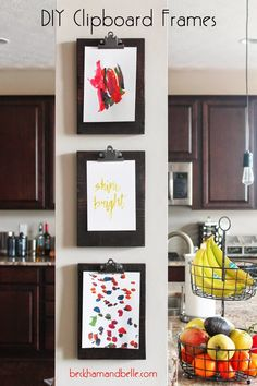 DIY Wall Decor | Beckham + Belle: DIY Clipboard Frame Gallery; a place other than your fridge to hang the kids' artwork...