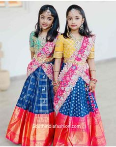 Kids Lehenga Choli, Lehenga Style Saree, Sarees, Indian Bridesmaid Dresses, Indian Gowns Dresses, Long Dress Design, Baby Dress Design, Mother Daughter Dresses Matching, Mother Daughter Fashion