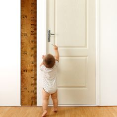 Every year, every month, every week, every hour, your sweet little one is growing bigger and bigger. Keep track of their progress with this ruler growth chart. When they are all grown and out of the h Boy Room, Kids Room, Striped Room, Growth Chart Ruler, Growth Charts, Little Boy Fashion, Nursery Wall Decals, Baby Boy Nurseries, Kids Decor