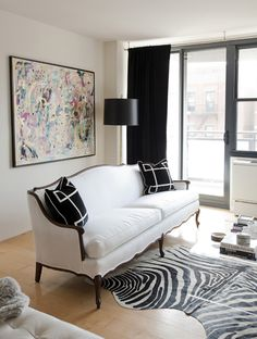 Suzie: Made by Girl - Chic city living room with vintage French white settee, Jill Sorenson ...