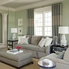 Bear Hill Interiors - living rooms - Sherwin Williams - Frostwork - Modern grey, Oly Studio, Hickory Chair,  Modern family room by Susan Walsh