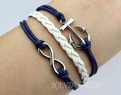 Silvery anchor bracelet infinity karma bracelet navy by handworld, $3.59