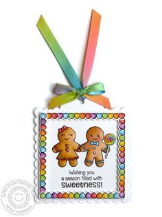 Sunny Studio Stamps: Jolly Gingerbread Gumdrops Scalloped Christmas Gift Tag by Mendi Yoshikawa
