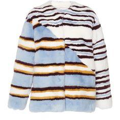 Rabbit Fur Coat | Moda Operandi ($9,465) ❤ liked on Polyvore featuring outerwear, coats, rabbit fur coat, blue coat and rabbit coat
