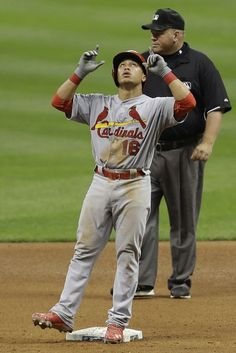 Kolten Wong doubles in the top of the seventh inning against the Milwaukee Brewers..Cards lost the game 6-3..   8-20-13