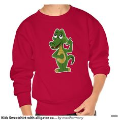 Kids Sweatshirt with alligator cartoon