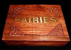 Wooden Box with Inlaid Fairies Brass Design