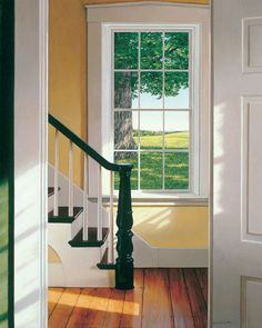 Yellow with green trim, or maybe a green accent wall.